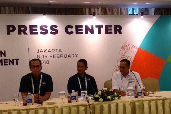 Para pejabat Inasgoc sedang memberikan pemaparan terkait Wisma Atlet Kemayoran dan venue yang digunakan pada test event Asian Games 2018, di Hotel Century, Jakarta, Rabu (14/2/2018).