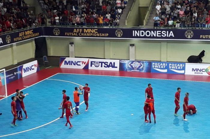 Timnas futsal Indonesia memastikan gelar peringkat ketiga piala AFF futsal 2018 di GOR UNY, Yogyakarta, Minggu (11/11/2018).