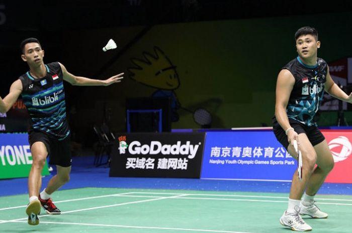 Pasangan ganda putra Indonesia, Wahyu Nayaka Arya Pangkaryanira/Ade Yusuf Santoso, tersingkir dari Thailand Masters 2019.