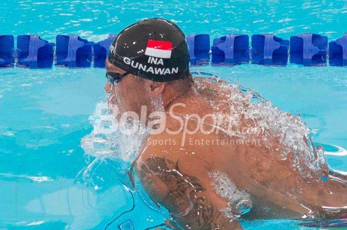 Indra Gunawan sedang melakukan sesi kualifikasi SEA Games 2017 (25/8/2017)