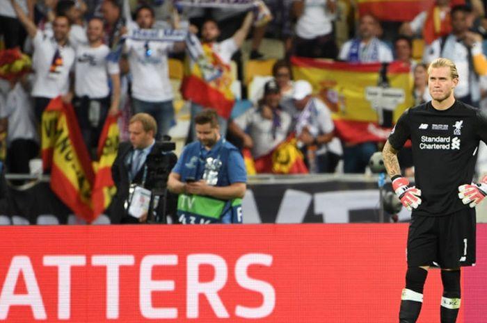 Ekspresi kiper Liverpool FC, Loris Karius, setelah dibobol Real Madrid dalam laga final Liga Champio