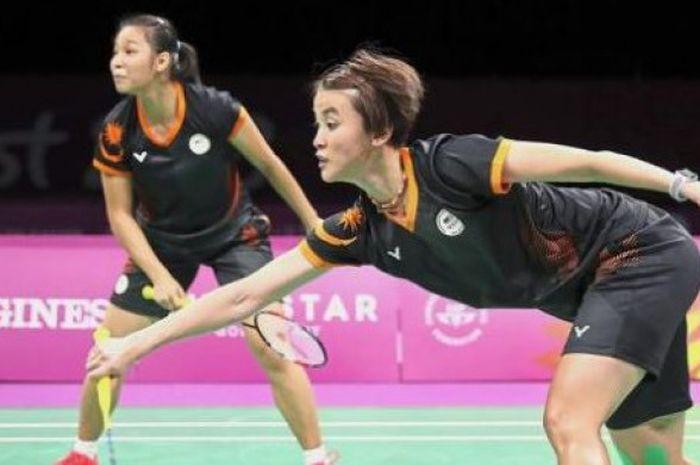 Pebulu tangkis ganda putri Malaysia, Chow Mei Kuan (kiri) dan Vivian Hoo (kanan) saat berlaga di Commonwealth Games 2018.