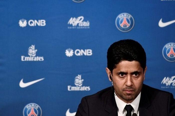 Presiden Paris Saint-Germain (PSG) Nasser Al-Khelaifi menghadiri sesi perkenalan Unai Emery sebagai