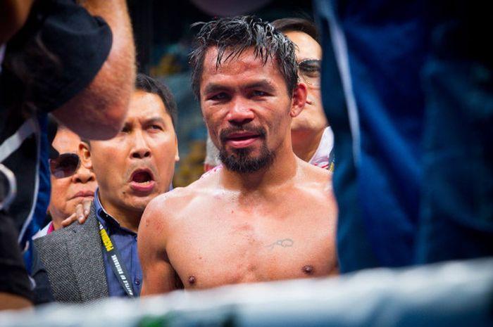 Reaksi petinju Manny Pacquiao setelah dikalahkan Jeff Horn dalam pertarungan perebutan sabuk juara kelas welter WBO, 2 Juli 2017 di Suncorp Stadium, Brisbane.