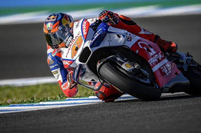Jack Miller (Pramac Racing) melaju kencang dengan tunggangannya saat melakoni sesi kualifikasi MotoGP Spanyol pada Sabtu (5/5/2018)