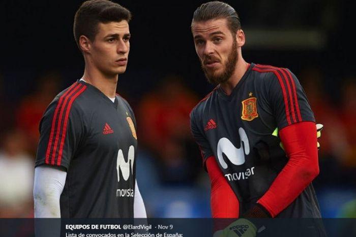 David de Gea (kanan) dan Kepa Arrizabalaga saat menjalani latihan bersama timnas Spanyol.