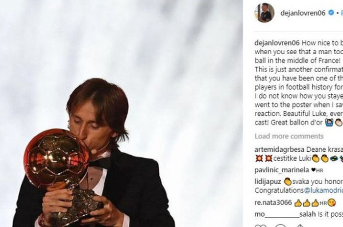 Unggahan Dejan Lovren yang memberikan selamat kepada Luka Modric setelah memenangi Ballon d'Or 2018.