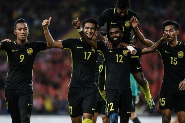 Pemain timnas U-22 Malaysia merayakan gol yang dicetak ke gawang timnas U-22 Myanmar dalam laga kedua tim di ajang SEA Games 2017, Senin (21/8/2017).