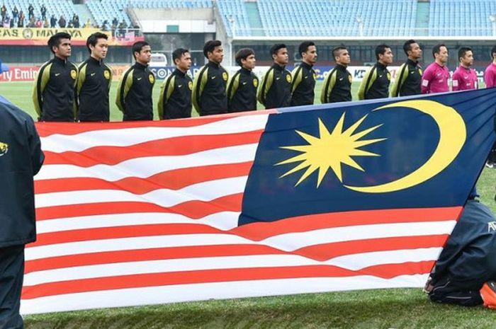 Para pemain timnas U-23 Malaysia sebelum melakoni laga kedua Grup C PIala Asia U-23 2018 kontra tim