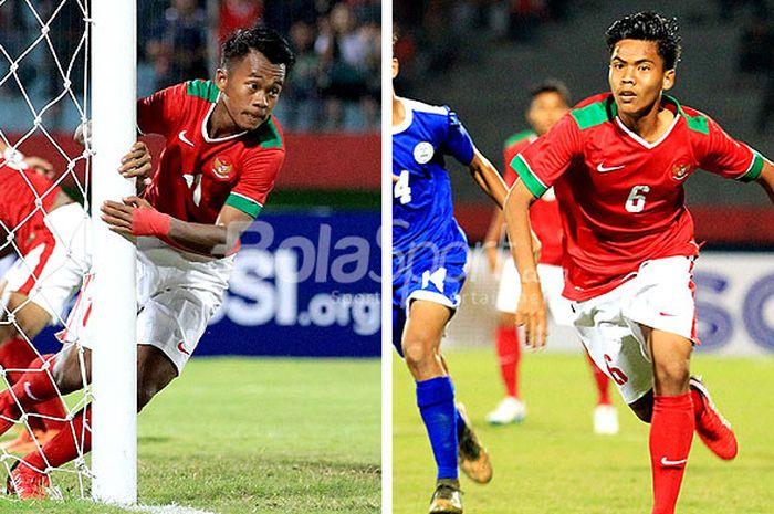 Dua pemain timnas U-16 Indonesia, Mochammad Supriadi (kiri) dan kapten tim, David Maulana, akan diistirahatkan pelatih Fakhri Husaini saat lawan Vietnam.