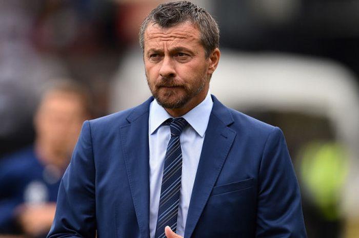 Ekspresi manajer Fulham, Slavisa Jokanovic, dalam pertandingan Liga Inggris 2018-2019 menghadapi Cry