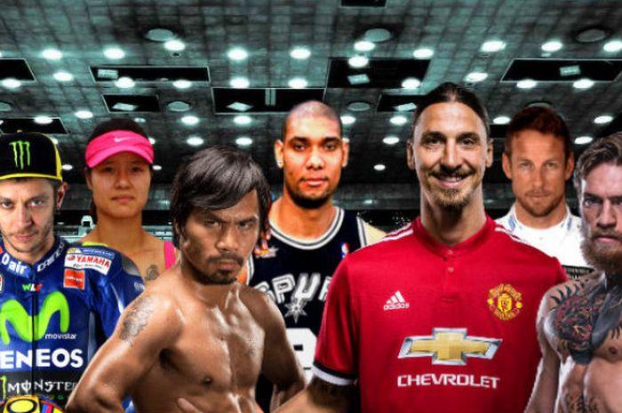 Dari kiri ke kanan: Valentino Rossi, Li Na, Manny Pacquiao, Tim Duncan, Zlatan Ibrahimovic, Jenson Button, dan Conor McGregor merupakan multi-atlet