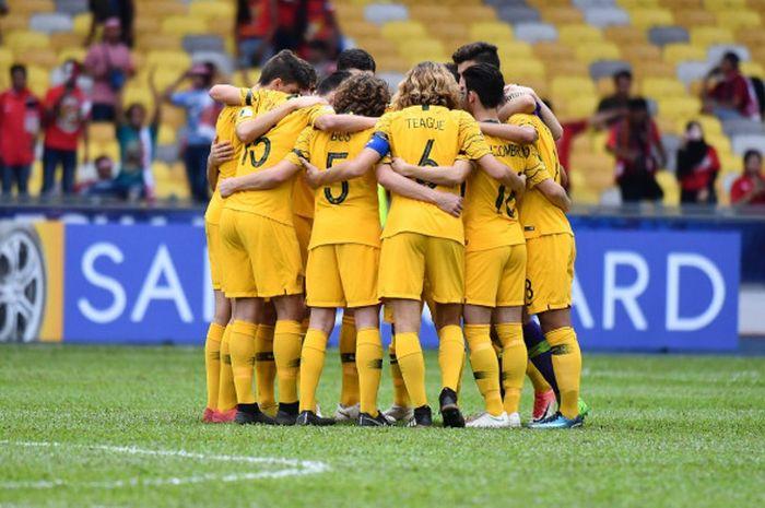 Timnas U-16 Australia menghadapi Jepang pada semifinal Piala Asia U-16 2018 di Stadion Bukit Jalil, 4 Oktober 2018.