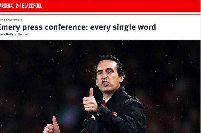 Manajer Arsenal, Unai Emery, dalam laga Piala Liga Inggris kontra Blackpool di Emirates Stadium,Rabu (31/10/2018) atau Kamis dini hari WIB.