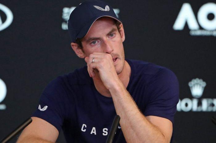 Andy Murray saat menghadiri sesi konferensi pers jelang Australian Open 2019 yang digelar Jumat (11/1/2019).