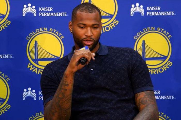 DeMarcus Cousins sedang menceritakan tentang kepindahannya dari New Orleans Pelicans ke Golden State Warriors pada sesi konferensi pers yang digelar hari Kamis (19/7/2018) di Oakland, Amerika Serikat.