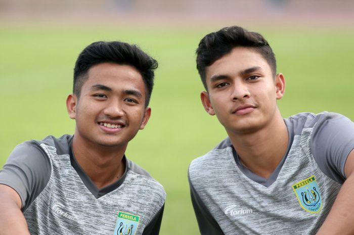 Hambali Tolib dan Muhammad Ridwan, dua pemain muda Persela Lamongan.