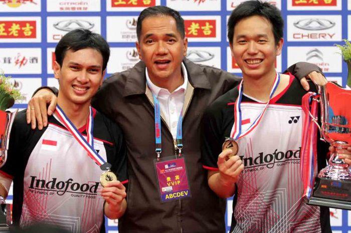 Hendra Setiawan/Mohammad Ahsan ketika memenangi Kejuaraan Dunia 2013 di sektor ganda putra.
