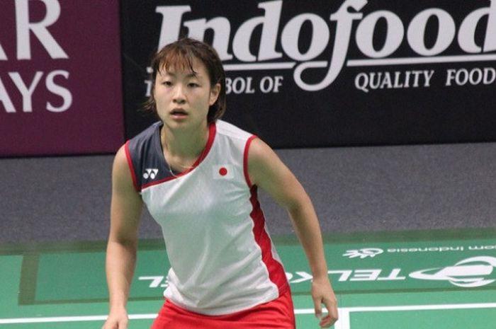 Tunggal putri Jepang, Nozomi Okuhara, saat tampil di Istora Senayanm Jakarta, pada ajang Asian Games 2018.