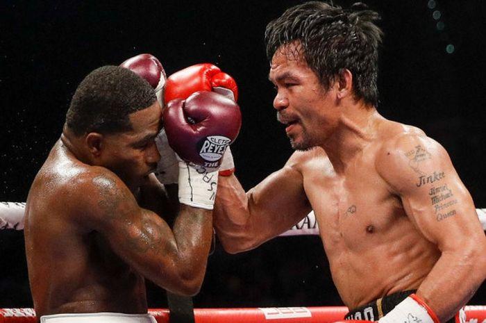 Pertarungan antara Manny Pacquiao dan Adrien Broner yang berlangsung di MGM Grand, Las Vegas, AS, Mi