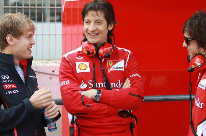 Sebastian Vettel, Massimo Rivola, dan Fernando Alonso.