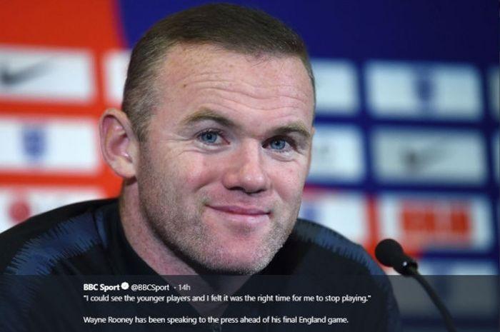 Pemain timnas Ingrris, Wayne Rooney, dalam konferensi pers menjelang laga perhabatan kontra Amerika