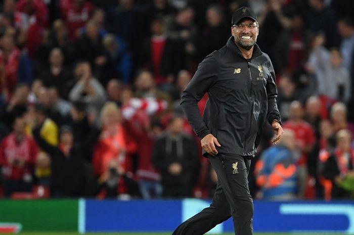 Ekspresi pelatih Liverpool FC, Juergen Klopp, seusai laga Grup C Liga Champions kontra Paris Saint-Germain di Stadion Anfield, Liverpool, Inggris pada 18 September 2018.