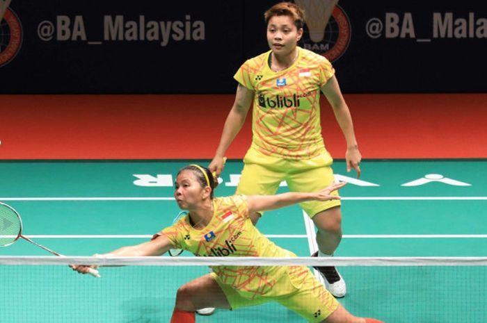 Pasangan ganda putri nasional Indonesia, Greysia Polii/Apriyani Rahayu, saat menjalani laga melawan