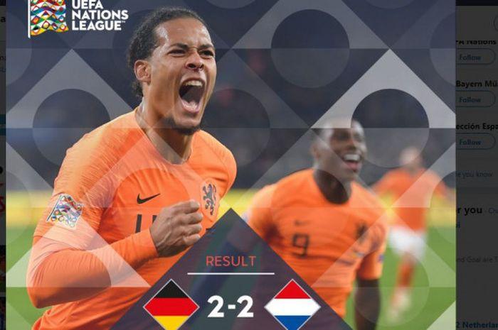 Timnas Belanda menahan imbang Jerman 2-2 dalam partai UEFA Nations League di VELTINS-Arena, Senin (19/11/2018).
