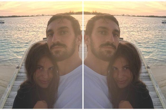 Davide Astori memeluk Francesca Fioretti