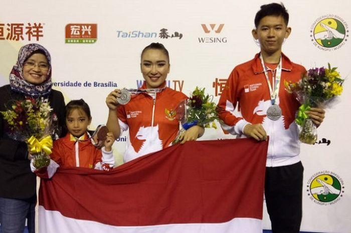 Para atlet wushu Indonesia mencetak prestasi membanggakan pada Kejuaraan Dunia Wushu Junior 2018 di Brasilia, Brasil.