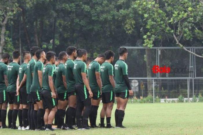 Latihan timnas Indonesia U-22 di lapangan ABC, Senayan, Jakarta, Rabu (9/1/2019).