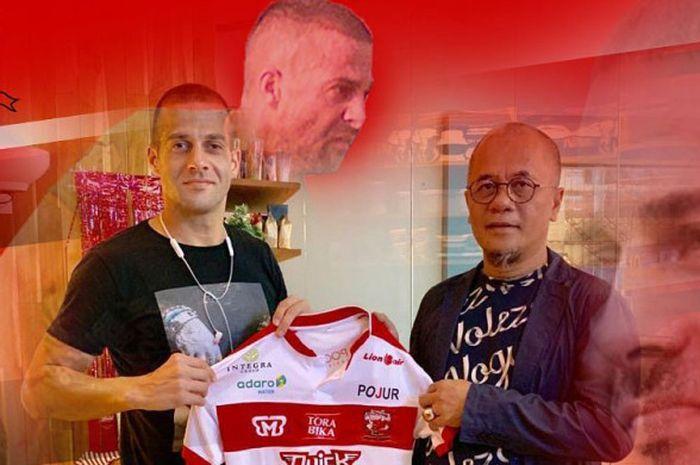 Aleksandar Rakic diresmikan sebagai rekrutan anyar Madura United, Rabu (16/1/2018).