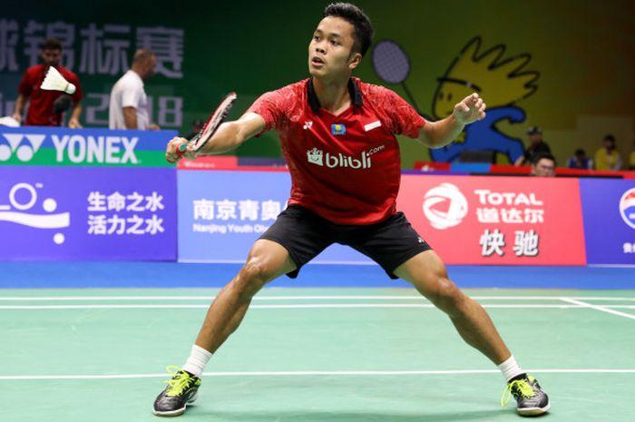 Pebulu tangkis tunggal putra indonesia, Anthony Sinisuka Ginting, tampil dalam laga Kejuaraan Dunia 2018 di Nanjing, China, Selasa (31/7/2018).