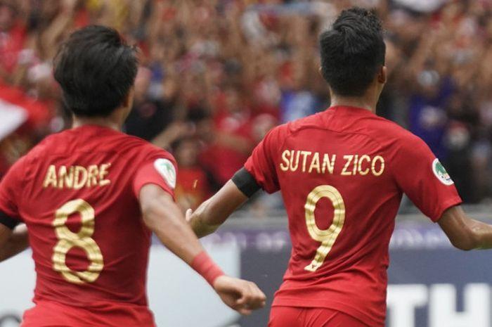 Penyerang Sutan Zico merayakan gol timnas U-16 Indonesia ke gawang timnas U-16 Australia pada laga