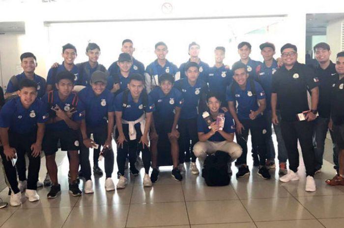 Skuat timnas U-22 Filipina saat bertolak ke Jepang untuk menjalani pemusatan latihan jelang SEA Game