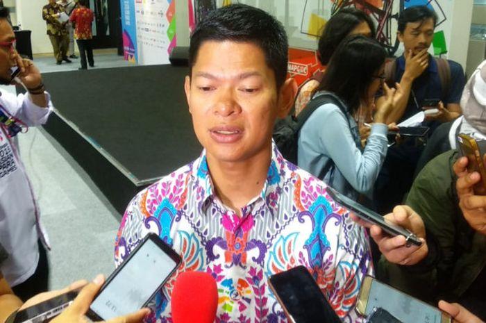 Ketua Umum Inapgoc Raja Sapta Oktohari saat diwawancarai para awak media, di GBK Arena, Senayan, Jakarta, Selasa (2/10/2018).