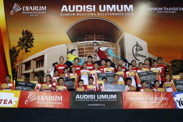 Audisi Umum Djarum Beasiswa Bulu Tangkis 2018 di GOR Bima, Cirebon, Jawa Barat.