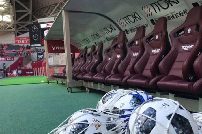 Jelang laga Liga Jepang antara tuan rumah Vissel Kobe kontra Sagan Tosu pada 10 November 2018. Ada Fernando Torres, Andres Iniesta, dan Lukas Podolski pada laga di Stadion Noevir.