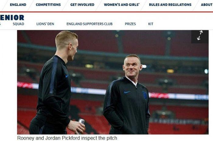 Striker timnas Inggris, Wayne Rooney, dalam partai uji coba melawan Amerika Serikat di Stadion Wembley pada Kamis (15/11/2018)