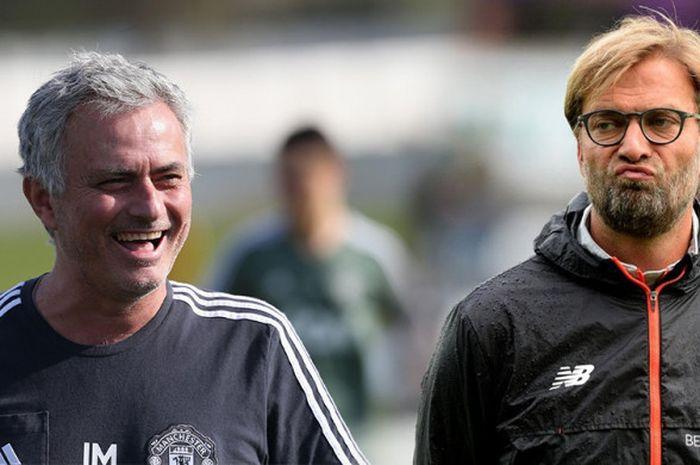 Mantan pelatih Manchester United, Jose Mourinho (sebelah kiri), mengaku iri dengan Juergen Klopp dan Pep Guardiola.