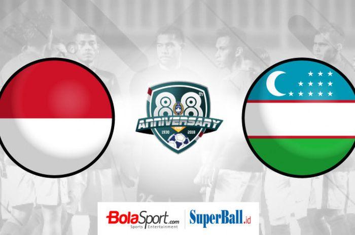 Ilustrasi timnas U-23 Indonesia vs timnas U-23 Uzbekistan di PSSI Anniversary Cup 2018.