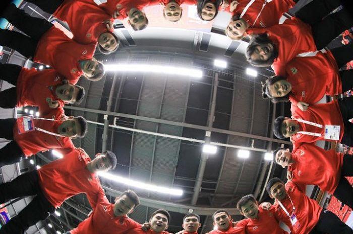 Tim bulu tangkis Indonesia yang berlaga pada Kejuaraan Dunia Junior 2018 di Markham Pan Am Center, O