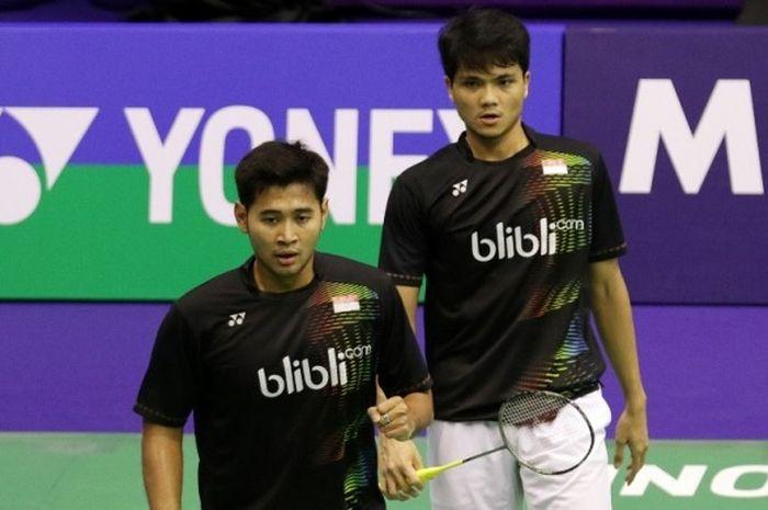 Pasangan ganda putra Indonesia, Angga Pratama (kiri)/Ricky Karanda Suwardi.