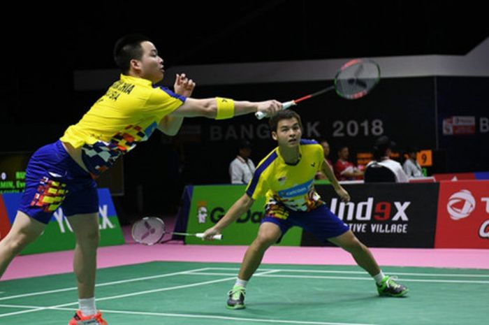 Pasangan ganda putra Malaysia, Aaron Chia (kanan)/Teo Ee Yi, saat menjalani pertandingan pada Piala Thomas 2018 yang berlangsung di Impact Arena, Bangkok, Thailand, 20-27 Mei.