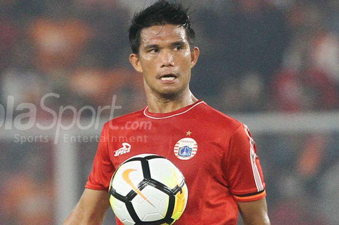 Aksi Sandi Sute pada pertandingan penyishan Grup H Piala AFC 2018 melawan Tampines Rovers di Stadion Utama Gelora Bung Karno, Rabu (28/2/2018).