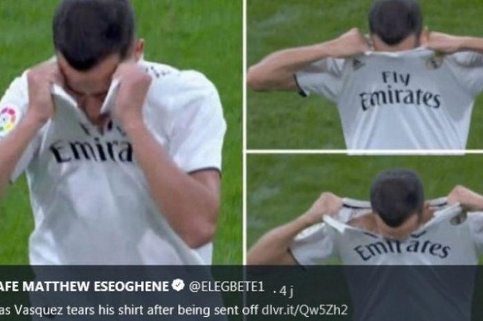 Pemain Real Madrid, Lucas Vasquez, merobek bajunya saat laga melawan Real Sociedad di Santiago Bernabeu, Minggu (6/1/2019)