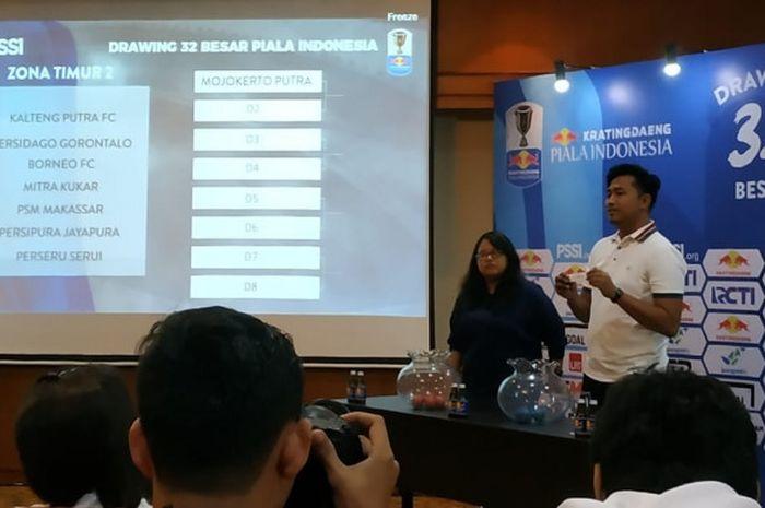 Drawing babak 32 besar Piala Indonesia 2018 di Hotel Sultan, Senayan, Jakarta Pusat, Selasa (8/1/2019).