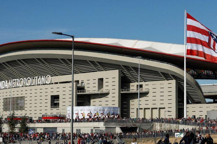 Suasana di stadion baru Atletico Madrid, Wanda Metropolitano, jelang pertandingan La Liga Spanyol antara Atletico Madrid menghadapi Malaga CF di Madrid, Spanyol, pada Sabtu (16/9/2017).