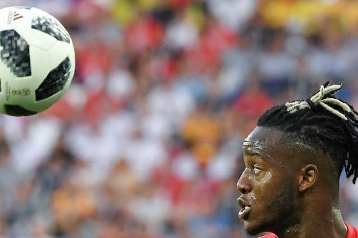 Striker Belgia, Michy Batshuayi, dalam laga kontra Inggris pada penyisihan grup Piala Dunia 2018 di Kaliningrad Stadium, Kamis (28/6/2018)